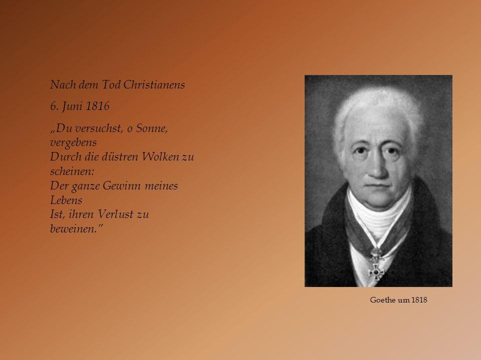 Nach dem Tod Christianens 6. Juni 1816 Du versuchst, o Sonne, vergebens Durch die düstren Wolken zu scheinen: Der ganze Gewinn meines Lebens Ist, ihre