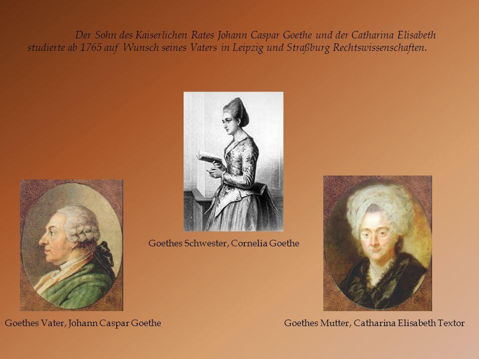Goethes Vater, Johann Caspar Goethe Goethes Schwester, Cornelia Goethe Goethes Mutter, Catharina Elisabeth Textor Der Sohn des Kaiserlichen Rates Joha