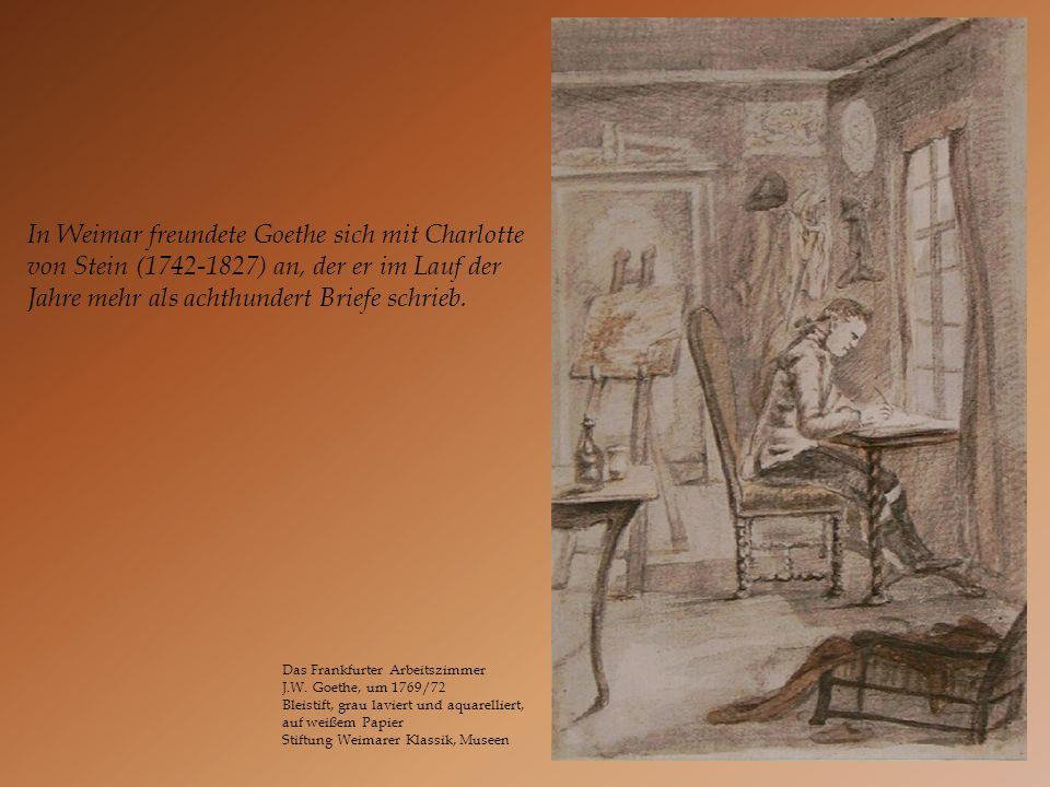 Das Frankfurter Arbeitszimmer J.W. Goethe, um 1769/72 Bleistift, grau laviert und aquarelliert, auf weißem Papier Stiftung Weimarer Klassik, Museen In