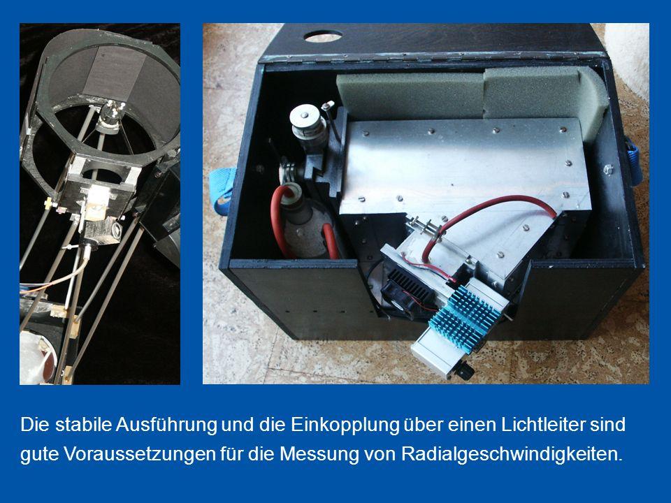 Die stabile Ausführung und die Einkopplung über einen Lichtleiter sind gute Voraussetzungen für die Messung von Radialgeschwindigkeiten.