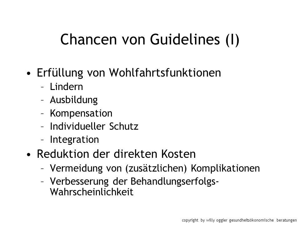 copyright by willy oggier gesundheitsökonomische beratungen Chancen von Guidelines (I) Erfüllung von Wohlfahrtsfunktionen –Lindern –Ausbildung –Kompen