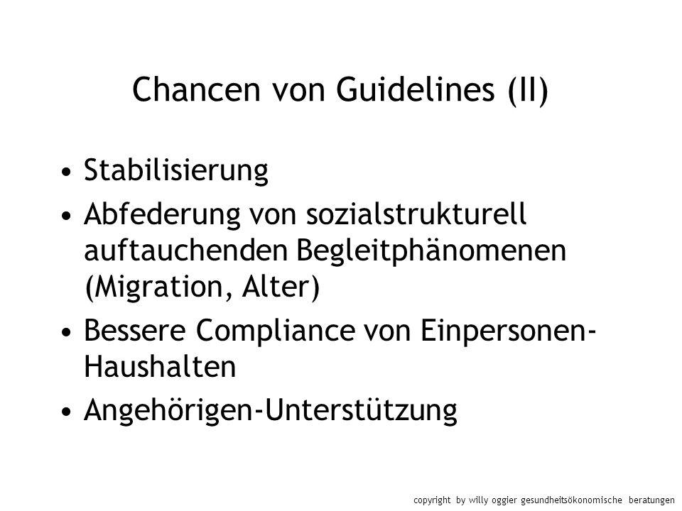 copyright by willy oggier gesundheitsökonomische beratungen Chancen von Guidelines (II) Stabilisierung Abfederung von sozialstrukturell auftauchenden