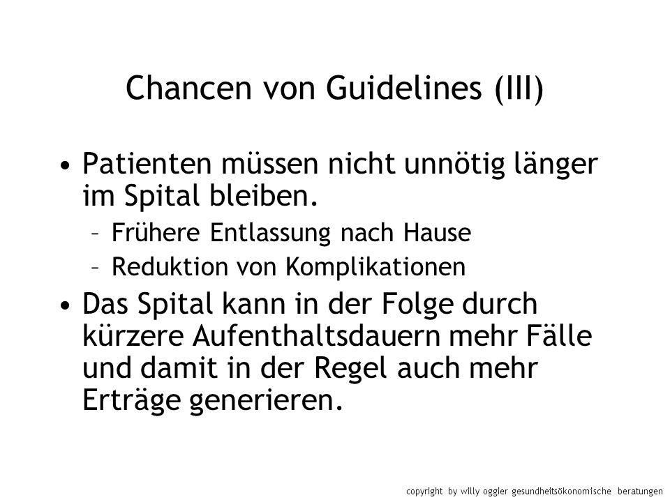copyright by willy oggier gesundheitsökonomische beratungen Chancen von Guidelines (III) Patienten müssen nicht unnötig länger im Spital bleiben. –Frü