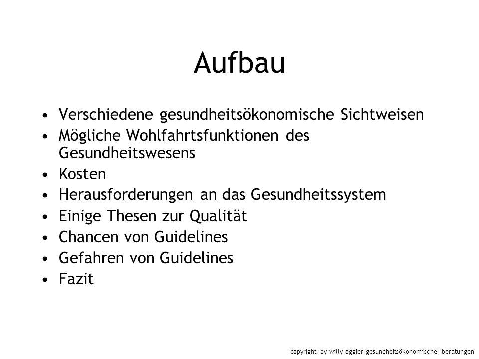 copyright by willy oggier gesundheitsökonomische beratungen Aufbau Verschiedene gesundheitsökonomische Sichtweisen Mögliche Wohlfahrtsfunktionen des G