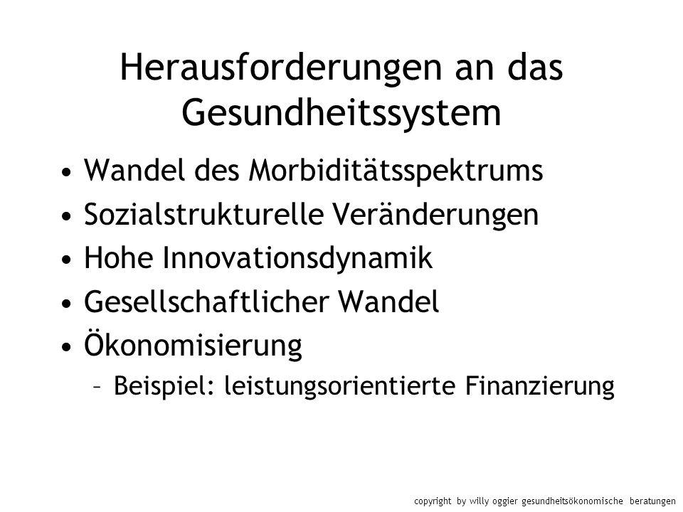 copyright by willy oggier gesundheitsökonomische beratungen Herausforderungen an das Gesundheitssystem Wandel des Morbiditätsspektrums Sozialstrukture