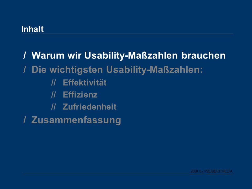 2008 by //SEIBERT/MEDIA Warum wir Usability-Maßzahlen brauchen Zustand: Die meisten User (und auch Kunden) können intuitiv beurteilen, ob eine Website eine hohe Usability hat oder nicht.