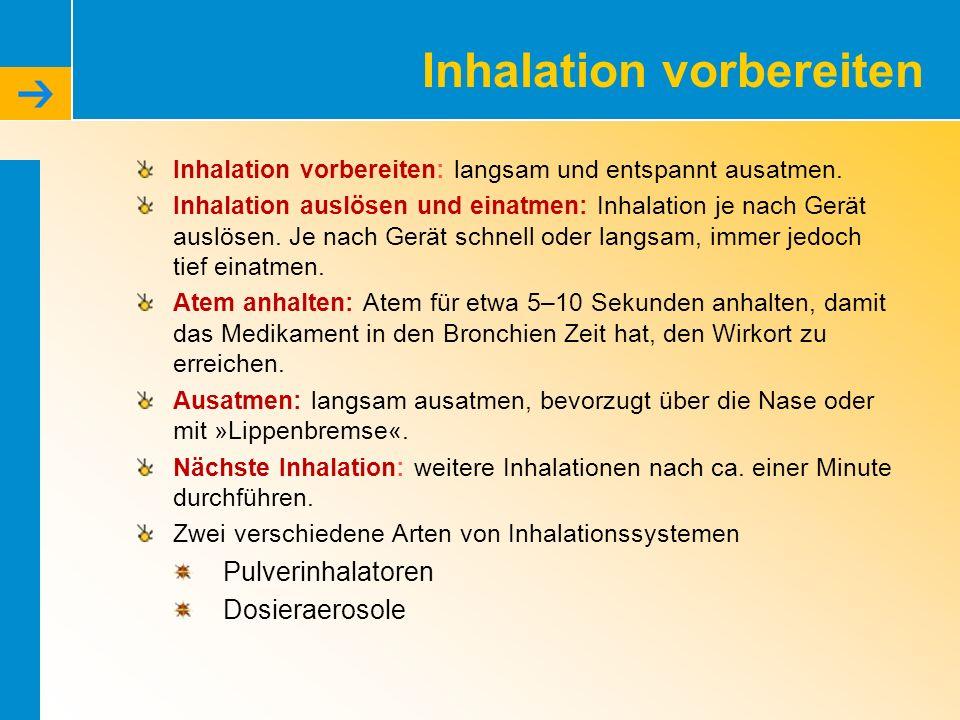 Inhalation vorbereiten Inhalation vorbereiten: langsam und entspannt ausatmen.