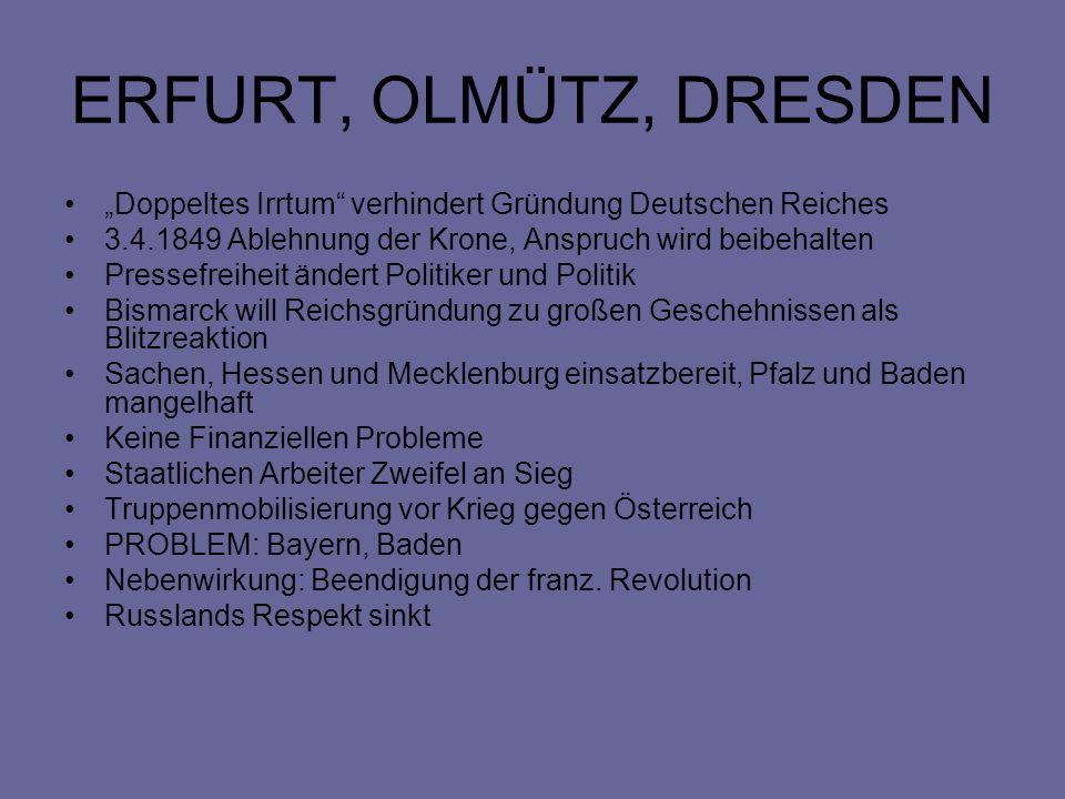 ERFURT, OLMÜTZ, DRESDEN Doppeltes Irrtum verhindert Gründung Deutschen Reiches 3.4.1849 Ablehnung der Krone, Anspruch wird beibehalten Pressefreiheit