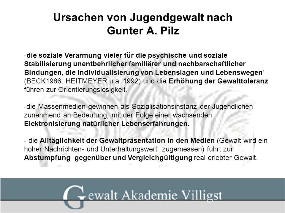 Ursachen von Jugendgewalt nach Gunter A. Pilz -die soziale Verarmung vieler für die psychische und soziale Stabilisierung unentbehrlicher familiärer u