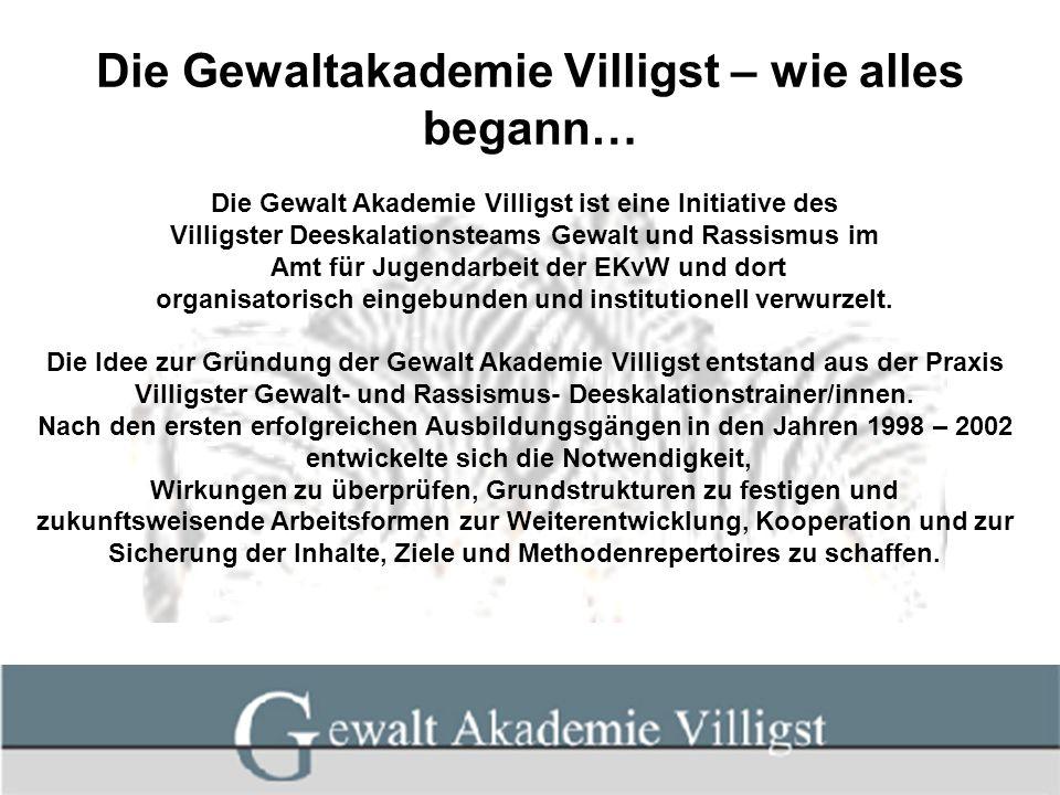 Die Gewaltakademie Villigst – wie alles begann… Die Gewalt Akademie Villigst ist eine Initiative des Villigster Deeskalationsteams Gewalt und Rassismu