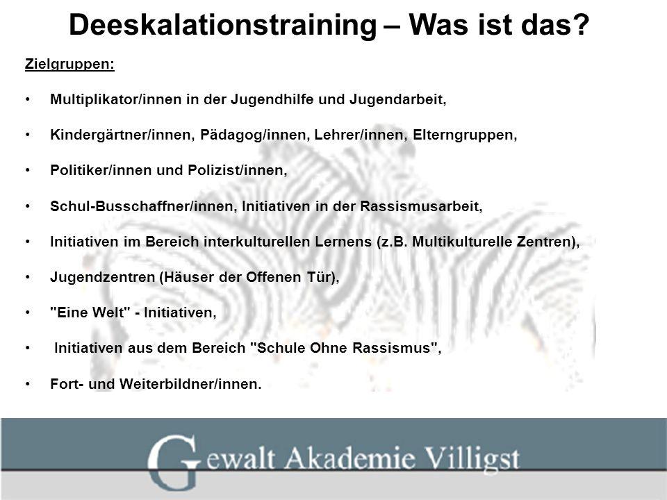 Deeskalationstraining – Was ist das? Zielgruppen: Multiplikator/innen in der Jugendhilfe und Jugendarbeit, Kindergärtner/innen, Pädagog/innen, Lehrer/