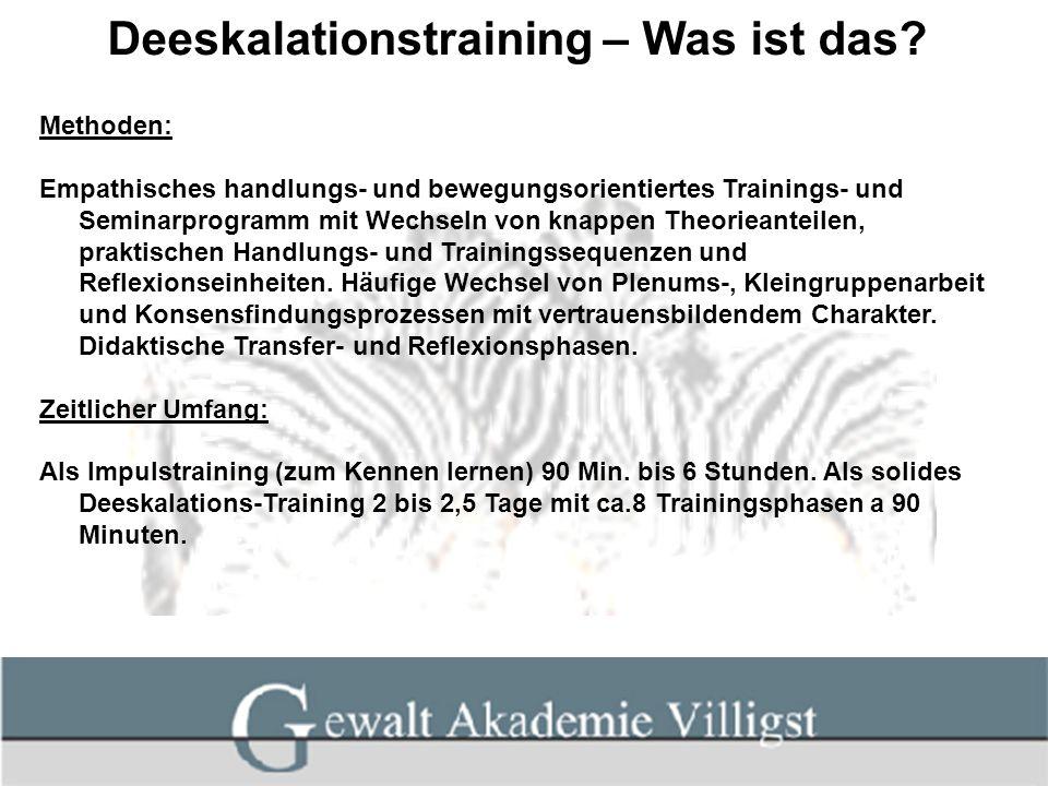 Deeskalationstraining – Was ist das? Methoden: Empathisches handlungs- und bewegungsorientiertes Trainings- und Seminarprogramm mit Wechseln von knapp