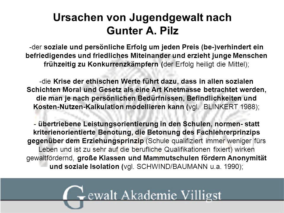 Ursachen von Jugendgewalt nach Gunter A. Pilz -der soziale und persönliche Erfolg um jeden Preis (be-)verhindert ein befriedigendes und friedliches Mi