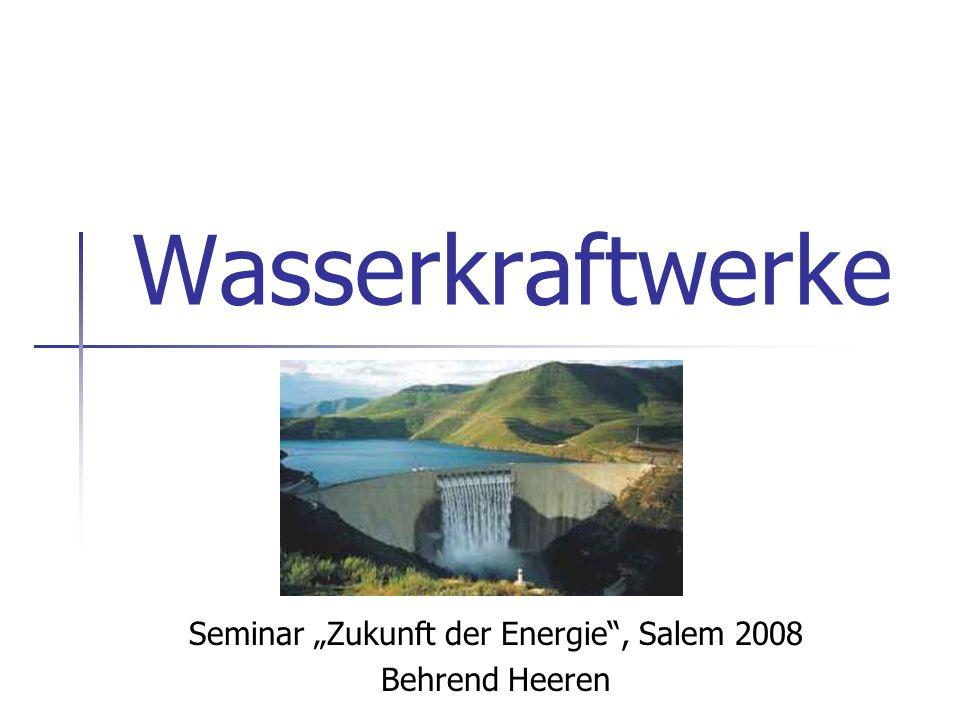 32 Pumpspeicherkraftwerke - zählen nicht zu erneuerbaren Energiequellen - es wird mehr Energie zum Hochpumpen benötigt als anschließend gewonnen werden kann - Alternativen energetisch ungünstiger - steigende Bedeutung (Ausbau Windenergie) - Problem: große Entfernungen zwischen Standorten von Windkraftanlagen (Küste) und PSKW (Mittelgebirge) Einleitung Aufbau eines Wasserkraftwerkes Typen von Wasserkraftwerken Auswirkungen Fazit