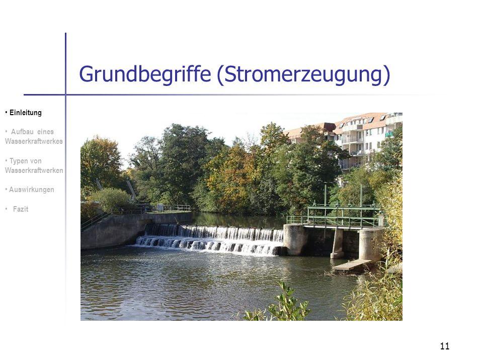 11 Grundbegriffe (Stromerzeugung) Einleitung Aufbau eines Wasserkraftwerkes Typen von Wasserkraftwerken Auswirkungen Fazit