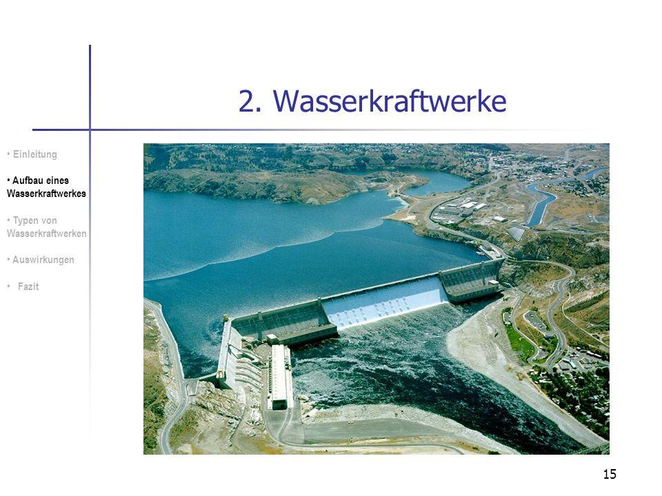 15 2. Wasserkraftwerke Einleitung Aufbau eines Wasserkraftwerkes Typen von Wasserkraftwerken Auswirkungen Fazit