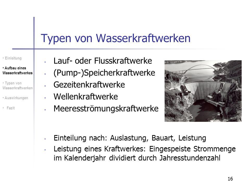 16 Typen von Wasserkraftwerken - Lauf- oder Flusskraftwerke - (Pump-)Speicherkraftwerke - Gezeitenkraftwerke - Wellenkraftwerke - Meeresströmungskraft