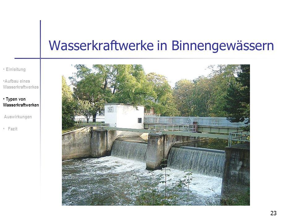 23 Wasserkraftwerke in Binnengewässern Einleitung Aufbau eines Wasserkraftwerkes Typen von Wasserkraftwerken Auswirkungen Fazit