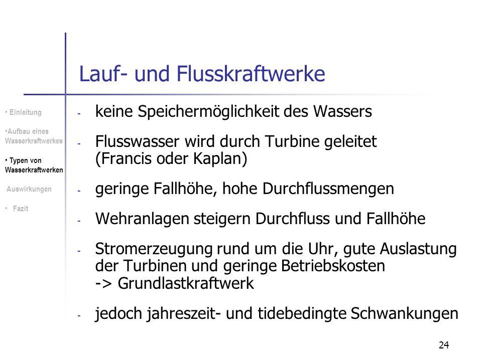 24 Lauf- und Flusskraftwerke - keine Speichermöglichkeit des Wassers - Flusswasser wird durch Turbine geleitet (Francis oder Kaplan) - geringe Fallhöh