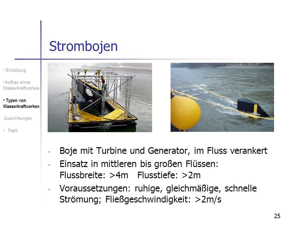 25 Strombojen - Boje mit Turbine und Generator, im Fluss verankert - Einsatz in mittleren bis großen Flüssen: Flussbreite: >4m Flusstiefe: >2m - Vorau
