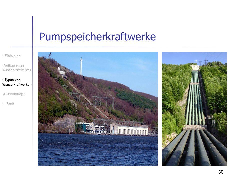 30 Pumpspeicherkraftwerke Einleitung Aufbau eines Wasserkraftwerkes Typen von Wasserkraftwerken Auswirkungen Fazit