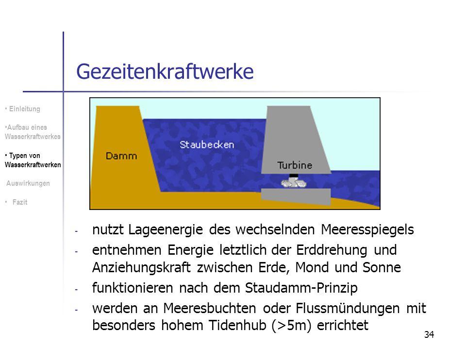34 Gezeitenkraftwerke - nutzt Lageenergie des wechselnden Meeresspiegels - entnehmen Energie letztlich der Erddrehung und Anziehungskraft zwischen Erd