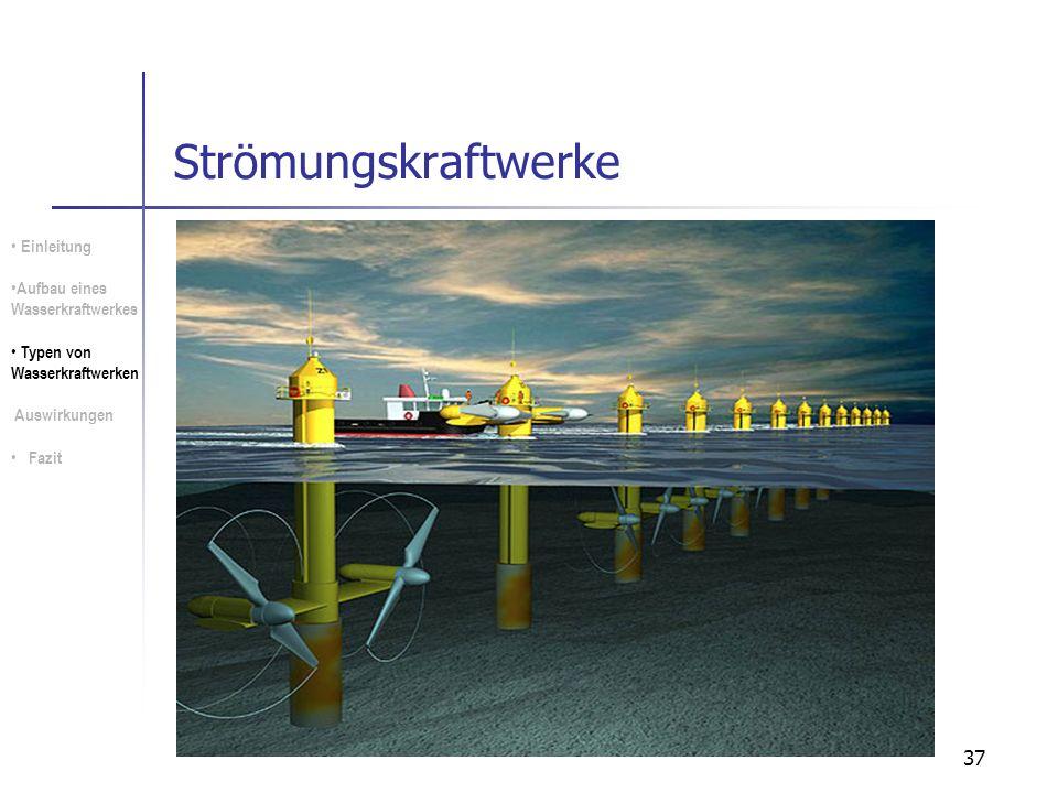 37 Strömungskraftwerke Einleitung Aufbau eines Wasserkraftwerkes Typen von Wasserkraftwerken Auswirkungen Fazit
