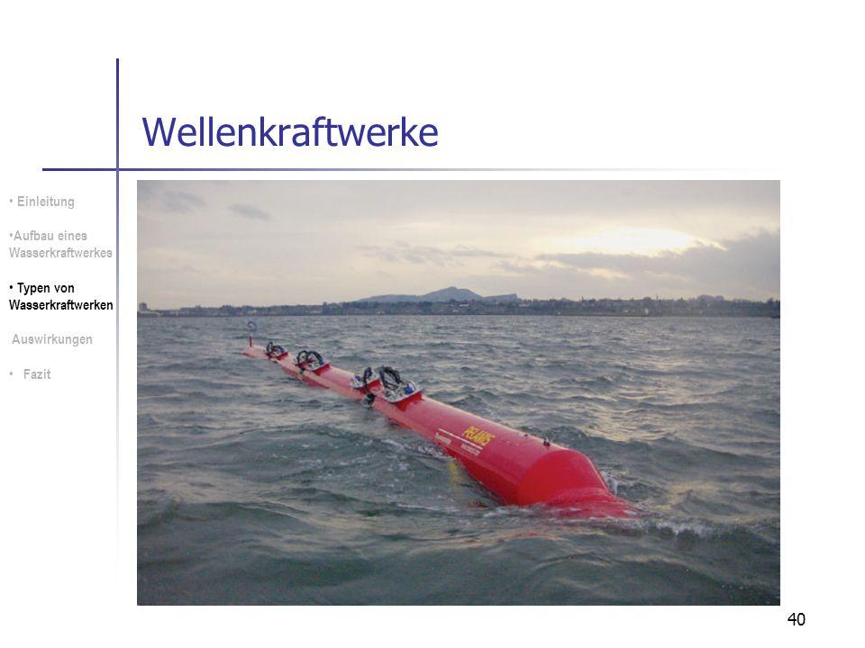 40 Wellenkraftwerke Einleitung Aufbau eines Wasserkraftwerkes Typen von Wasserkraftwerken Auswirkungen Fazit