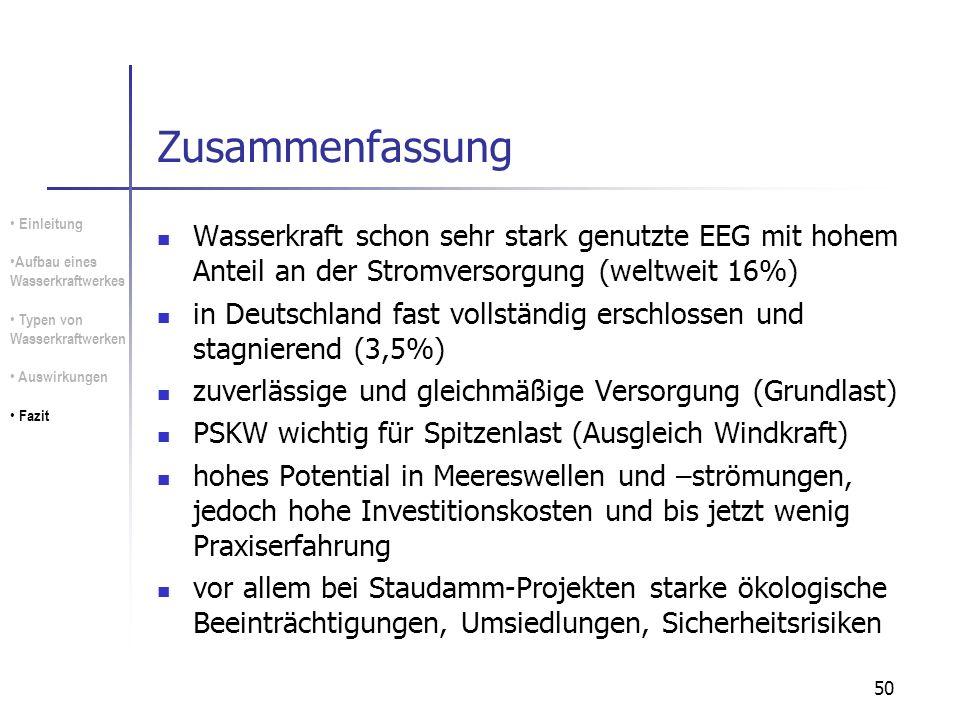50 Zusammenfassung Wasserkraft schon sehr stark genutzte EEG mit hohem Anteil an der Stromversorgung (weltweit 16%) in Deutschland fast vollständig er