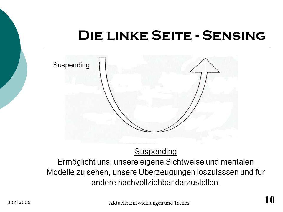 Juni 2006 Aktuelle Entwicklungen und Trends 10 Die linke Seite - Sensing Suspending Ermöglicht uns, unsere eigene Sichtweise und mentalen Modelle zu s