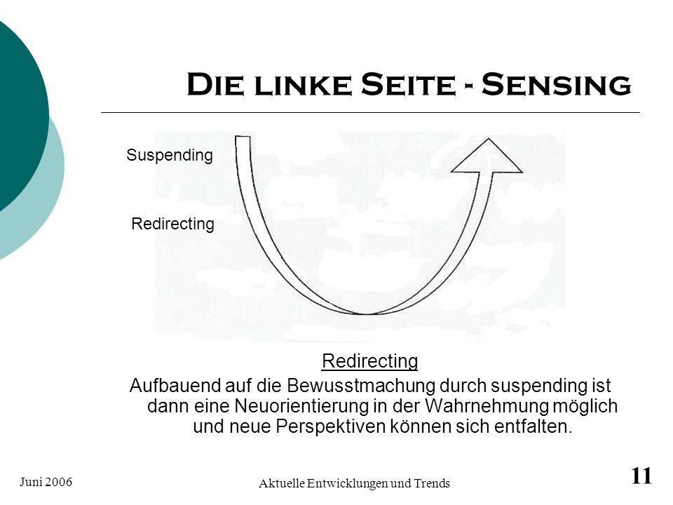 Juni 2006 Aktuelle Entwicklungen und Trends 11 Die linke Seite - Sensing Redirecting Aufbauend auf die Bewusstmachung durch suspending ist dann eine N