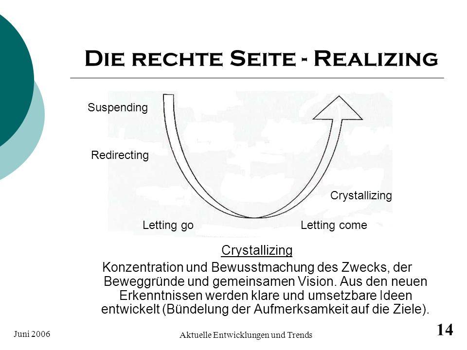 Juni 2006 Aktuelle Entwicklungen und Trends 14 Die rechte Seite - Realizing Crystallizing Konzentration und Bewusstmachung des Zwecks, der Beweggründe