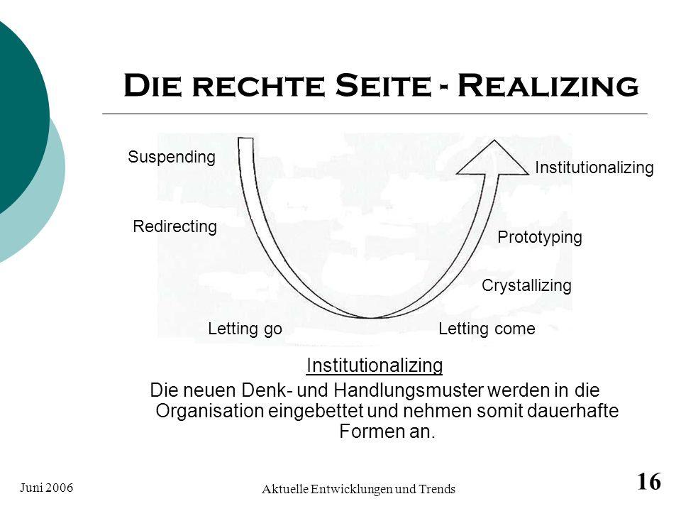 Juni 2006 Aktuelle Entwicklungen und Trends 16 Die rechte Seite - Realizing Institutionalizing Die neuen Denk- und Handlungsmuster werden in die Organ