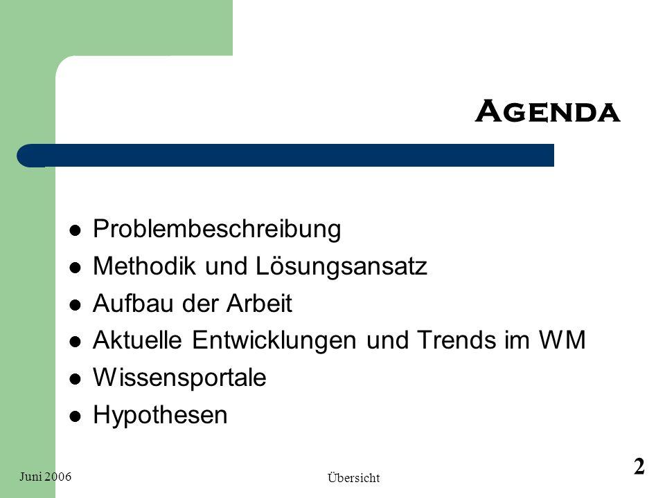 Juni 2006 Übersicht 2 Agenda Problembeschreibung Methodik und Lösungsansatz Aufbau der Arbeit Aktuelle Entwicklungen und Trends im WM Wissensportale H