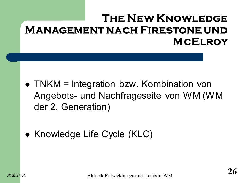 Juni 2006 Aktuelle Entwicklungen und Trends im WM 26 The New Knowledge Management nach Firestone und McElroy TNKM = Integration bzw. Kombination von A