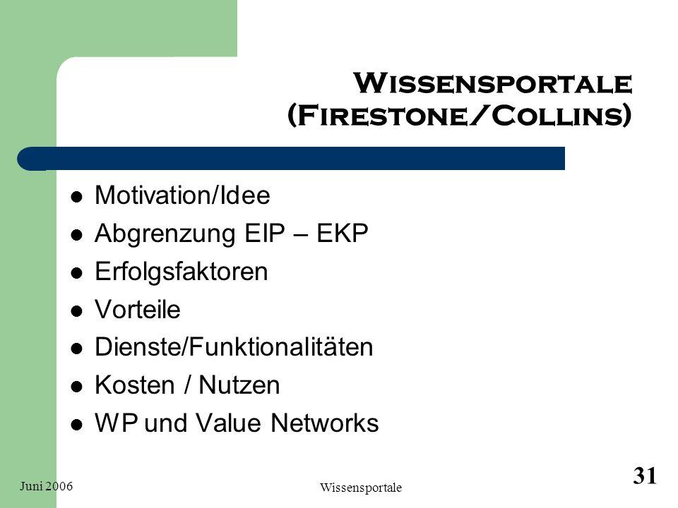 Juni 2006 Wissensportale 31 Wissensportale (Firestone/Collins) Motivation/Idee Abgrenzung EIP – EKP Erfolgsfaktoren Vorteile Dienste/Funktionalitäten