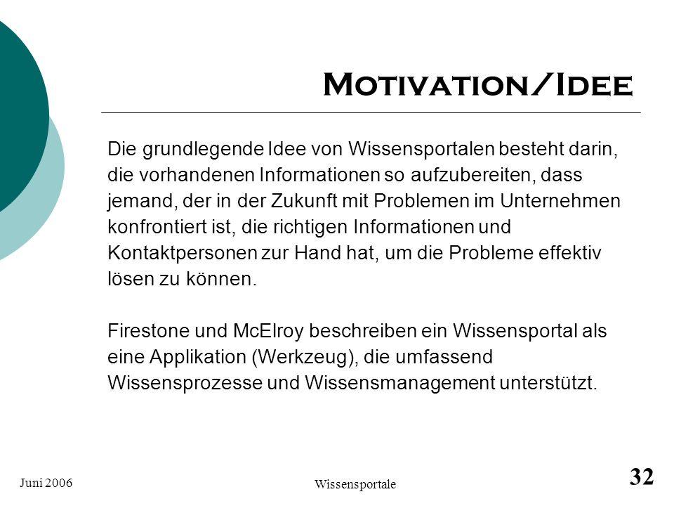 Juni 2006 Wissensportale 32 Motivation/Idee Die grundlegende Idee von Wissensportalen besteht darin, die vorhandenen Informationen so aufzubereiten, d