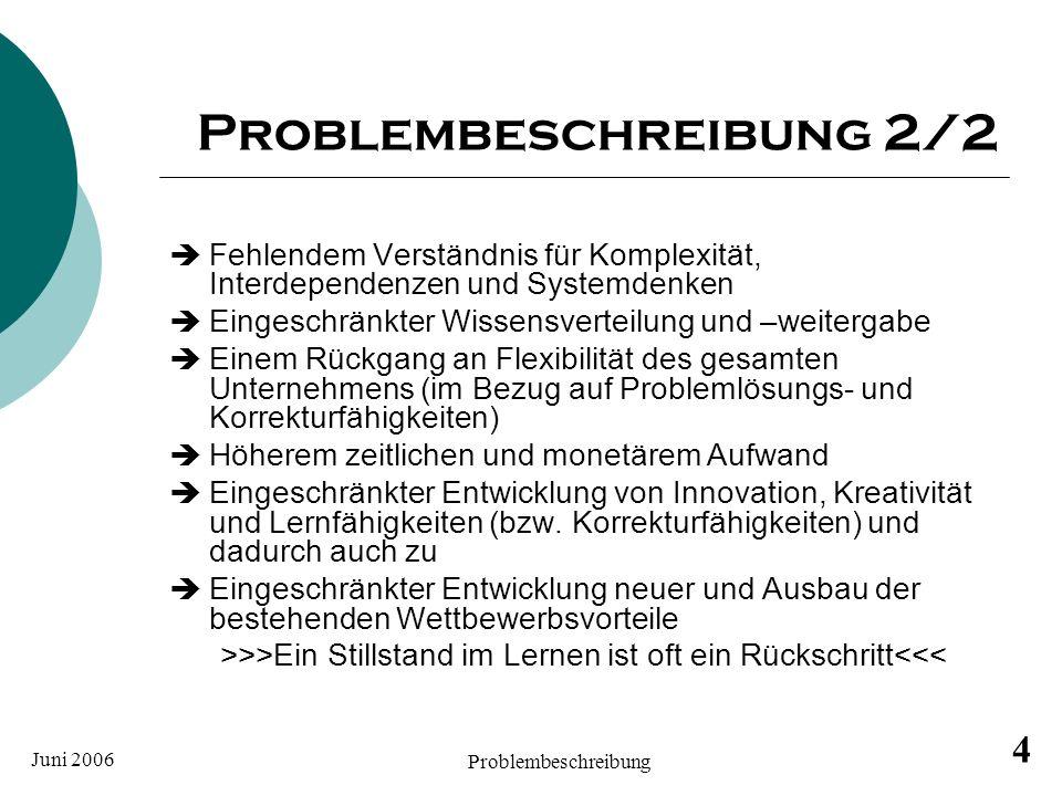 Juni 2006 Problembeschreibung 4 Problembeschreibung 2/2 Fehlendem Verständnis für Komplexität, Interdependenzen und Systemdenken Eingeschränkter Wisse