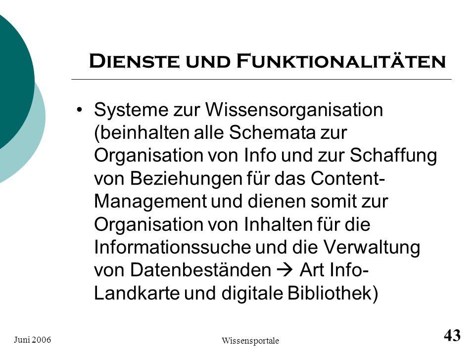 Juni 2006 Wissensportale 43 Dienste und Funktionalitäten Systeme zur Wissensorganisation (beinhalten alle Schemata zur Organisation von Info und zur S