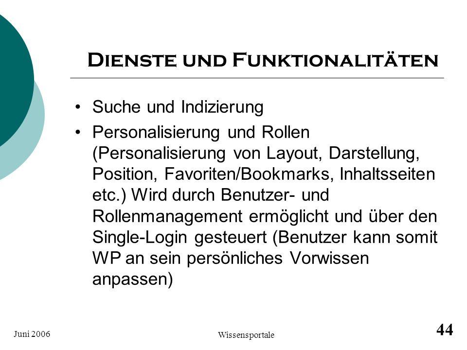Juni 2006 Wissensportale 44 Dienste und Funktionalitäten Suche und Indizierung Personalisierung und Rollen (Personalisierung von Layout, Darstellung,