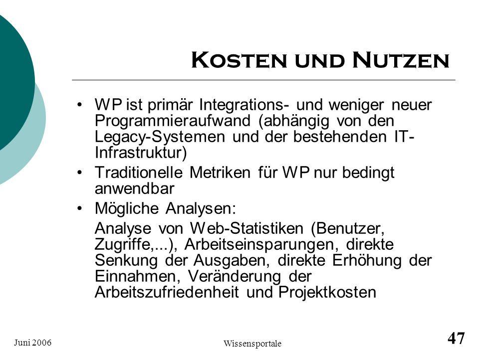 Juni 2006 Wissensportale 47 Kosten und Nutzen WP ist primär Integrations- und weniger neuer Programmieraufwand (abhängig von den Legacy-Systemen und d