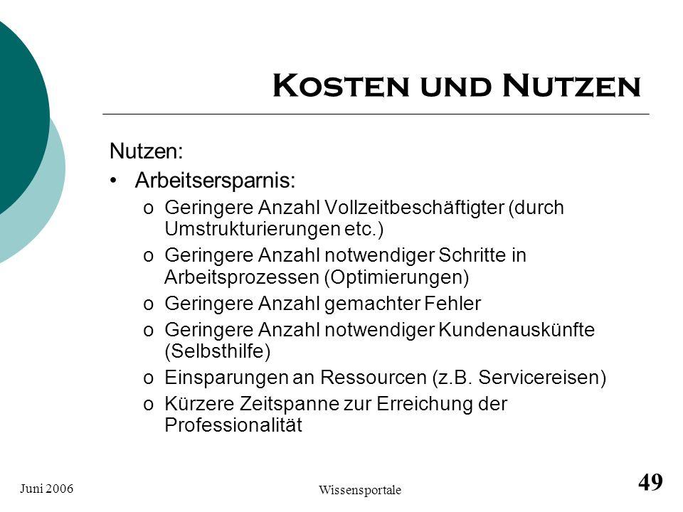 Juni 2006 Wissensportale 49 Kosten und Nutzen Nutzen: Arbeitsersparnis: oGeringere Anzahl Vollzeitbeschäftigter (durch Umstrukturierungen etc.) oGerin