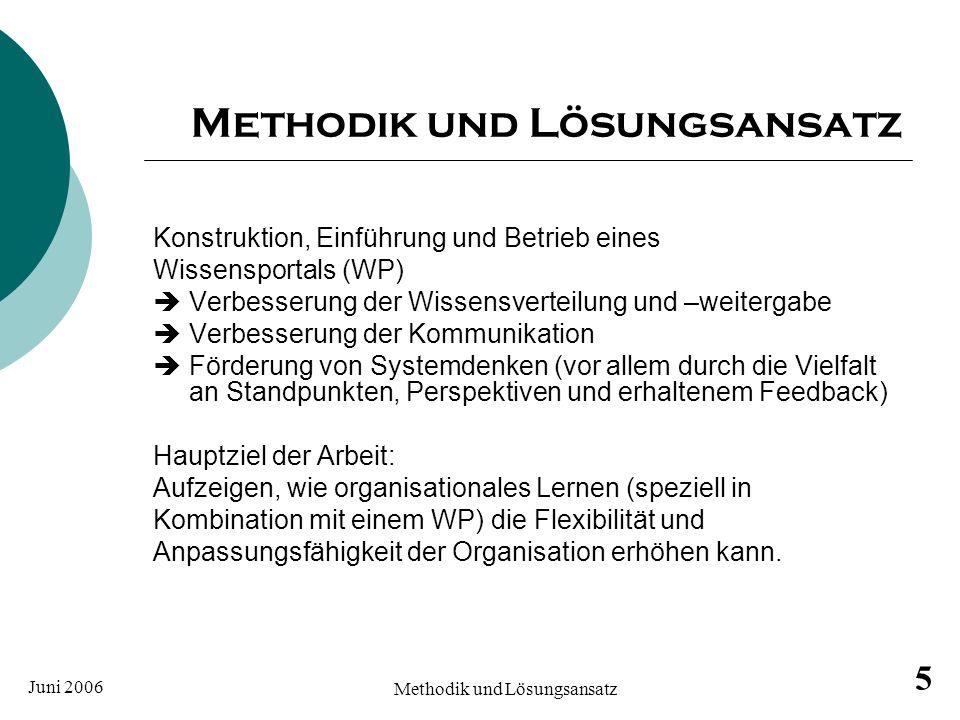 Juni 2006 Methodik und Lösungsansatz 5 Konstruktion, Einführung und Betrieb eines Wissensportals (WP) Verbesserung der Wissensverteilung und –weiterga