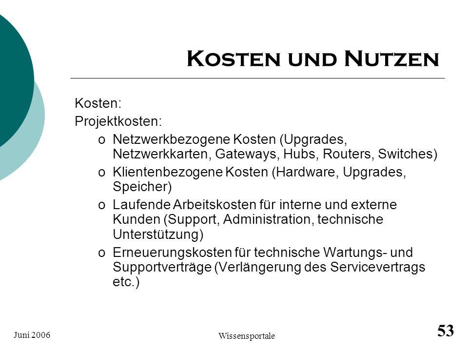 Juni 2006 Wissensportale 53 Kosten und Nutzen Kosten: Projektkosten: oNetzwerkbezogene Kosten (Upgrades, Netzwerkkarten, Gateways, Hubs, Routers, Swit