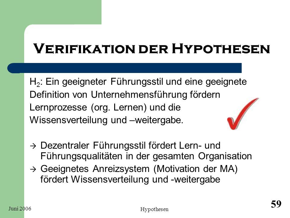 Juni 2006 Hypothesen 59 Verifikation der Hypothesen H 2 : Ein geeigneter Führungsstil und eine geeignete Definition von Unternehmensführung fördern Le