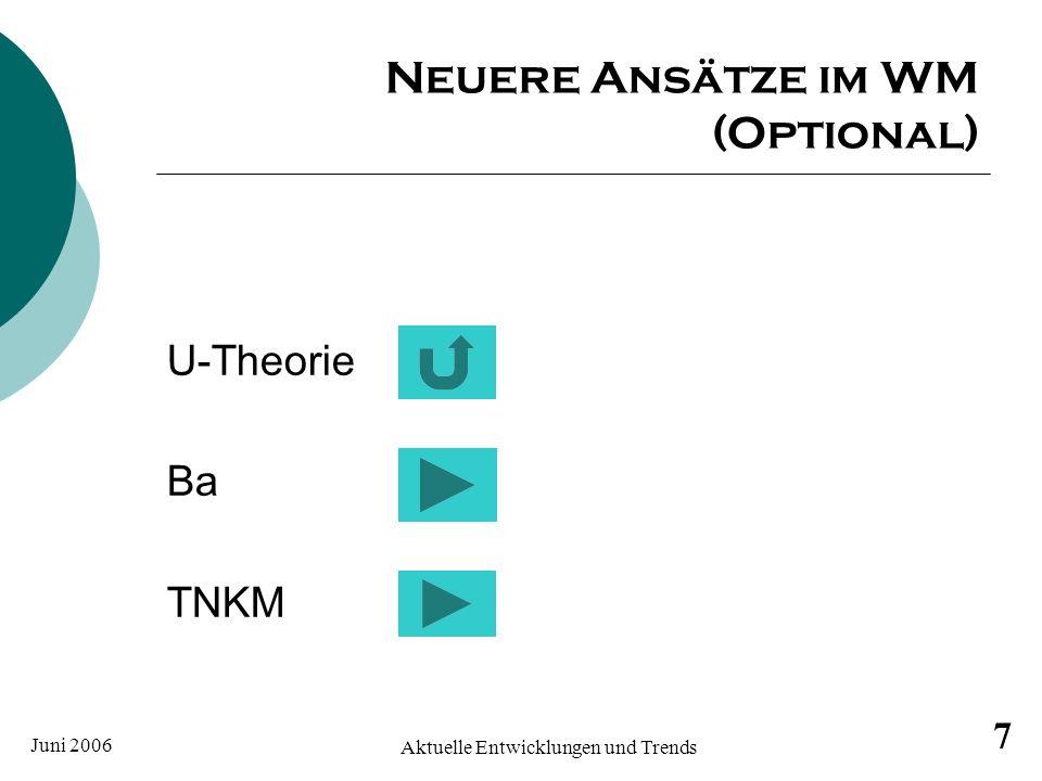 Juni 2006 Aktuelle Entwicklungen und Trends im WM 8 Die U-Theorie nach Scharmer Entwicklung einer neuen Fähigkeit, Möglichkeiten und Chancen zu erkennen und zu erspüren sobald diese auftauchen und sichtbar werden.