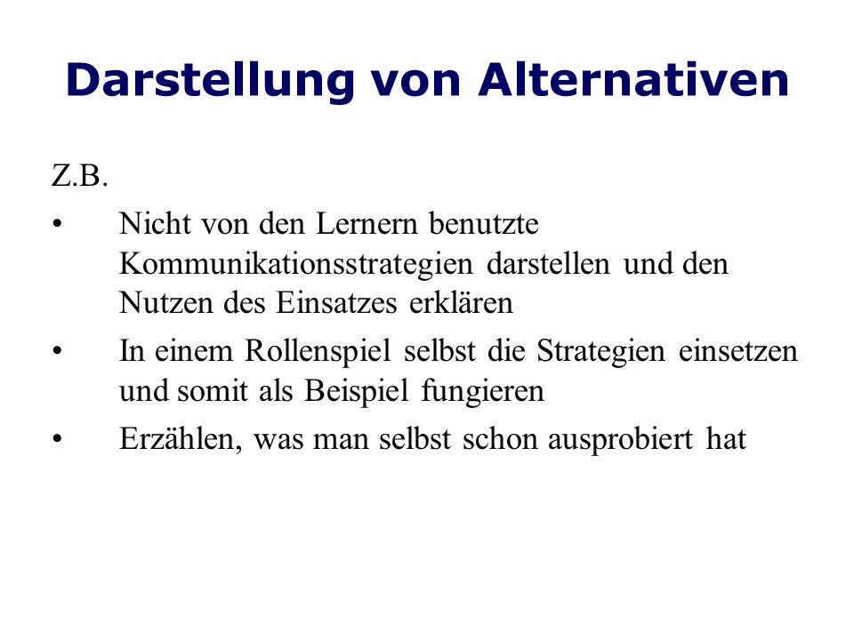 Darstellung von Alternativen Z.B.