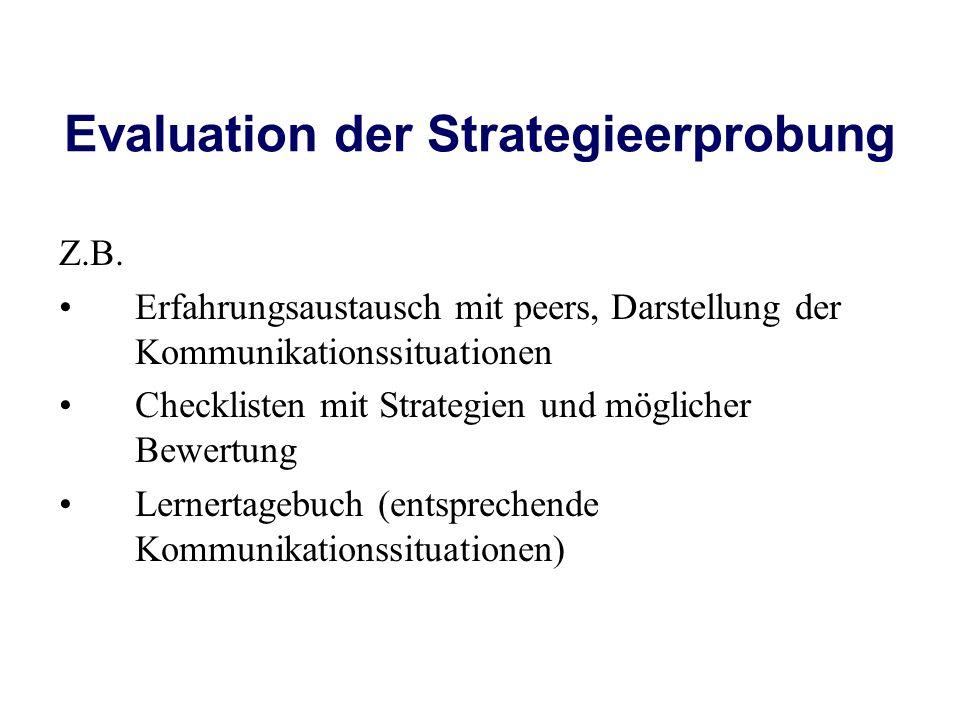 Evaluation der Strategieerprobung Z.B. Erfahrungsaustausch mit peers, Darstellung der Kommunikationssituationen Checklisten mit Strategien und möglich