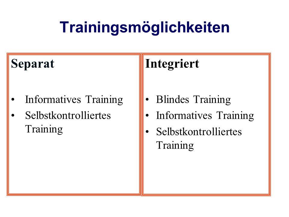 Trainingsmöglichkeiten Separat Informatives Training Selbstkontrolliertes Training Integriert Blindes Training Informatives Training Selbstkontrolliertes Training