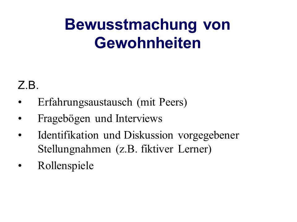 Bewusstmachung von Gewohnheiten Z.B. Erfahrungsaustausch (mit Peers) Fragebögen und Interviews Identifikation und Diskussion vorgegebener Stellungnahm